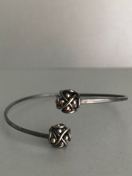 The Double Cluster Cuff Bracelet, Oxidized Silver & Gold