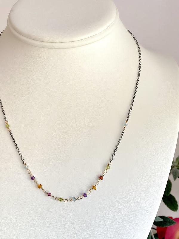 Hand tied rainbow stone front necklace-S/G