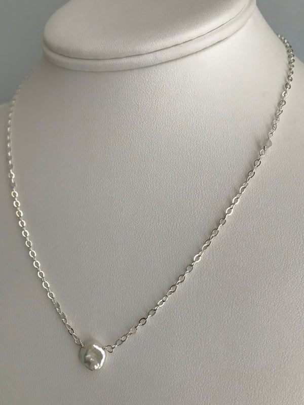 The Single Keshi Pearl Station Necklace
