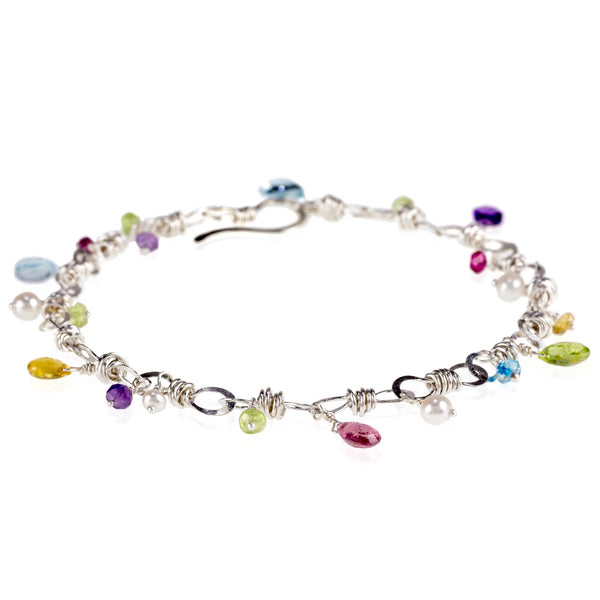 The Petite Bauble Link Bracelet With Gemstone Drops