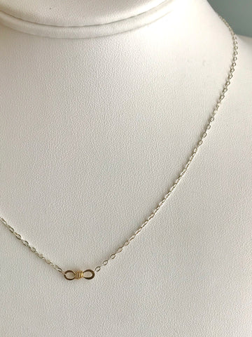 The Petite Infinity Knot Station Necklace, Silver & Gold