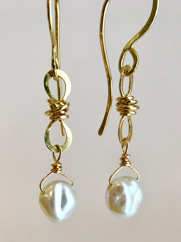 Petite Knot Drops with Keshi Pearls