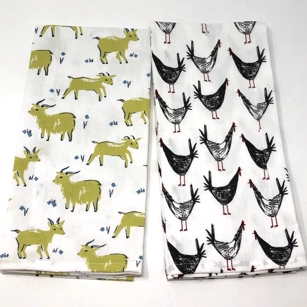 Goats & Chickens Cotton Kitchen Towels