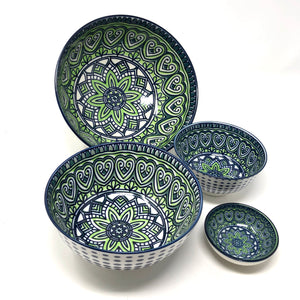 Blue and Green Multi-Colored Bowls