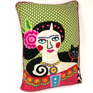 Frida! Multi-Colored Embroidered Pillow