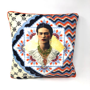 Frida! Multi-Colored Blue/Yellow/Orange Pillow