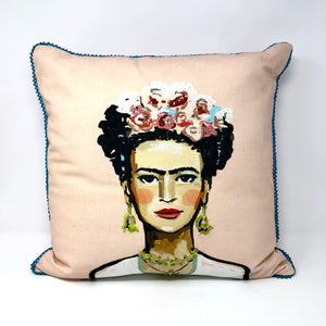 Frida! Multi-Colored Pink/Gold/Silver Pillow with Striped Back
