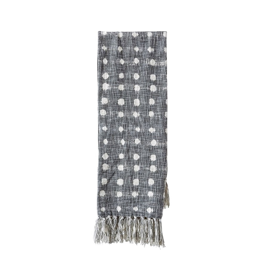 Gray Dot Cotton Throw