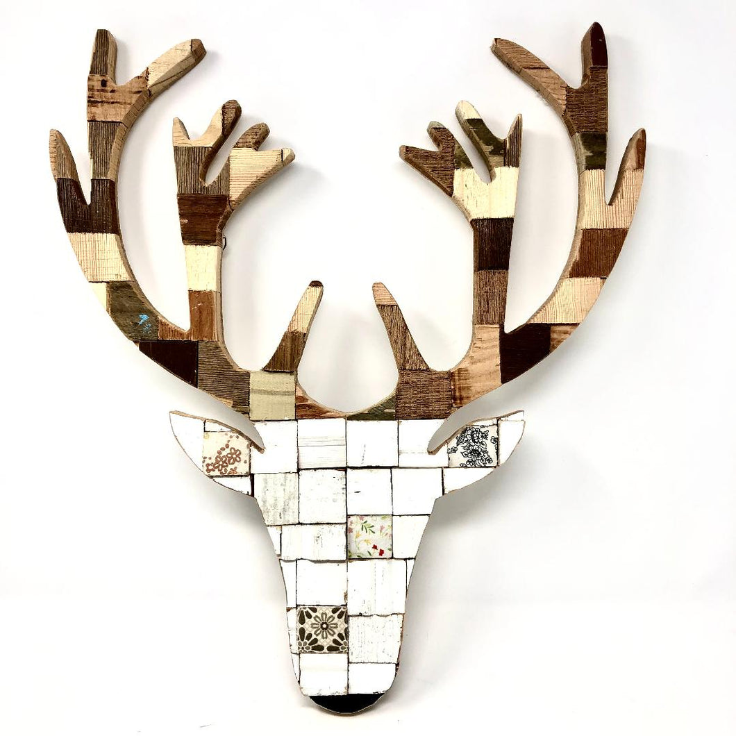 Block Wall Art - White Stag