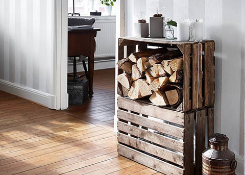 10 Ways To Reuse The Little Crates — Vintage Apple Crates — Sustainable Firewood — Firewood Storage — Indoor Wood Storage