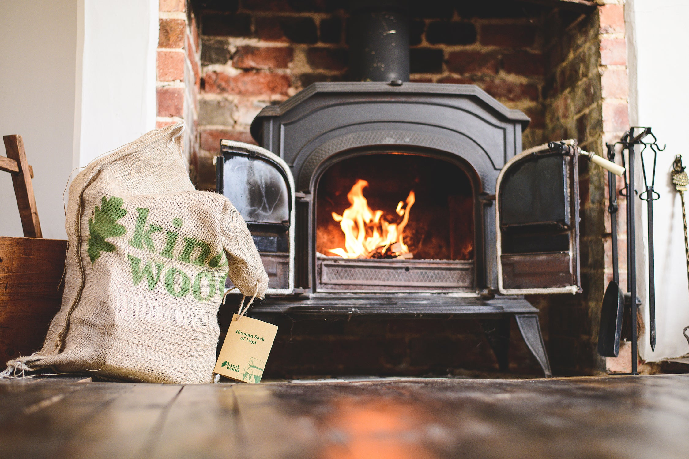 Kindwood - Hessian Sack of Logs - Top-Down Method - Sustainable Firewood