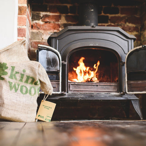 Sustainable firewood in a hessian bag by Kindwood