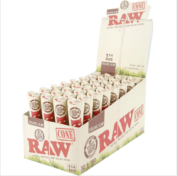 RAW Organic Pre-Rolled Cones 1 1/4 (6-Pack)