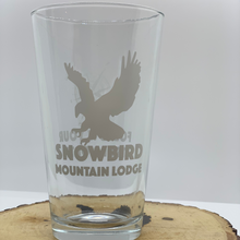 Load image into Gallery viewer, Pint glass Snowbird Mountain Lodge