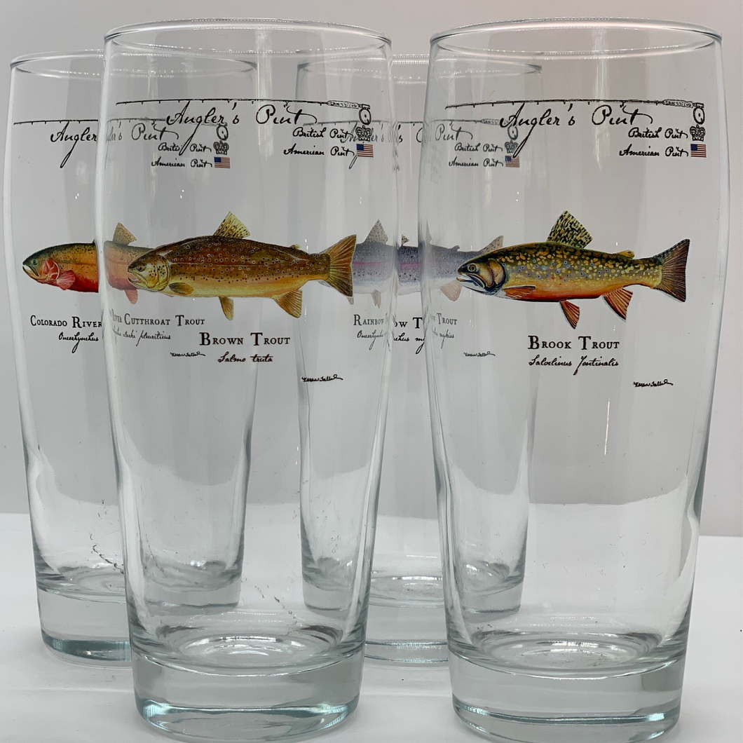 Angler Pint Gllass Cutthroat Trout 2