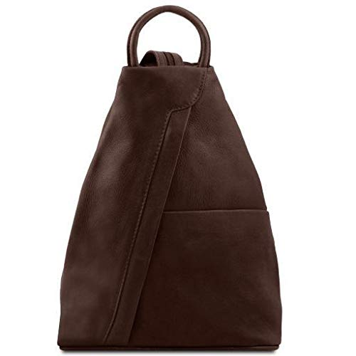Tuscany Leather Shanghai Leather backpack Dark Brown - backpacks4less.com