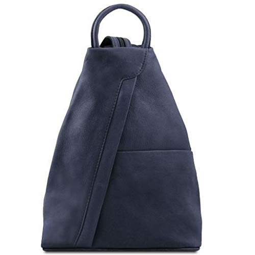 Tuscany Leather Shanghai Leather backpack Dark Blue - backpacks4less.com