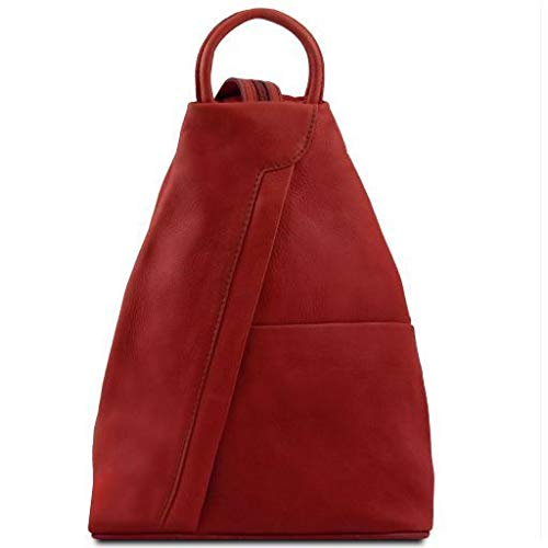 Tuscany Leather Shanghai Leather backpack Red - backpacks4less.com