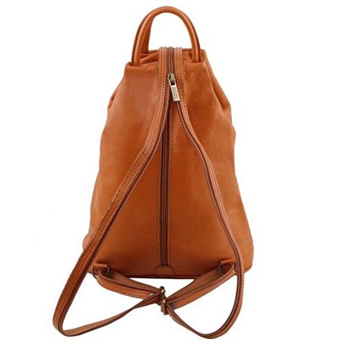 Tuscany Leather Shanghai Leather backpack Cognac - backpacks4less.com