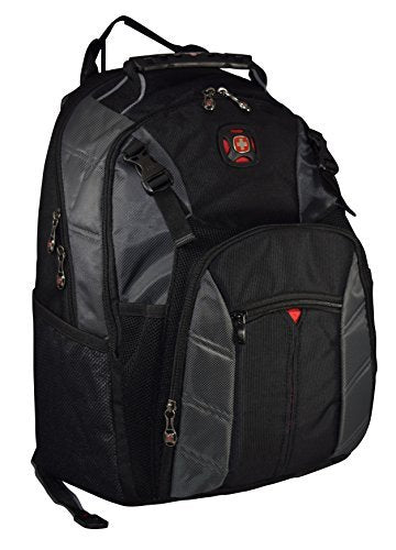 "SwissGear The Sherpa 15.6"" Padded Laptop Backpack/School Travel Bag (Black-Charcoal) - backpacks4less.com"