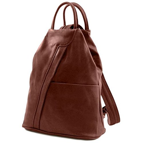Tuscany Leather Shanghai Leather backpack Brown - backpacks4less.com