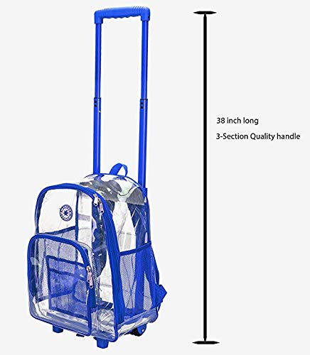 Rolling Clear Backpack Heavy Duty Bookbag See-thru Workbag Travel Daypack Transparent School Luggage with Wheels Royal Blue - backpacks4less.com