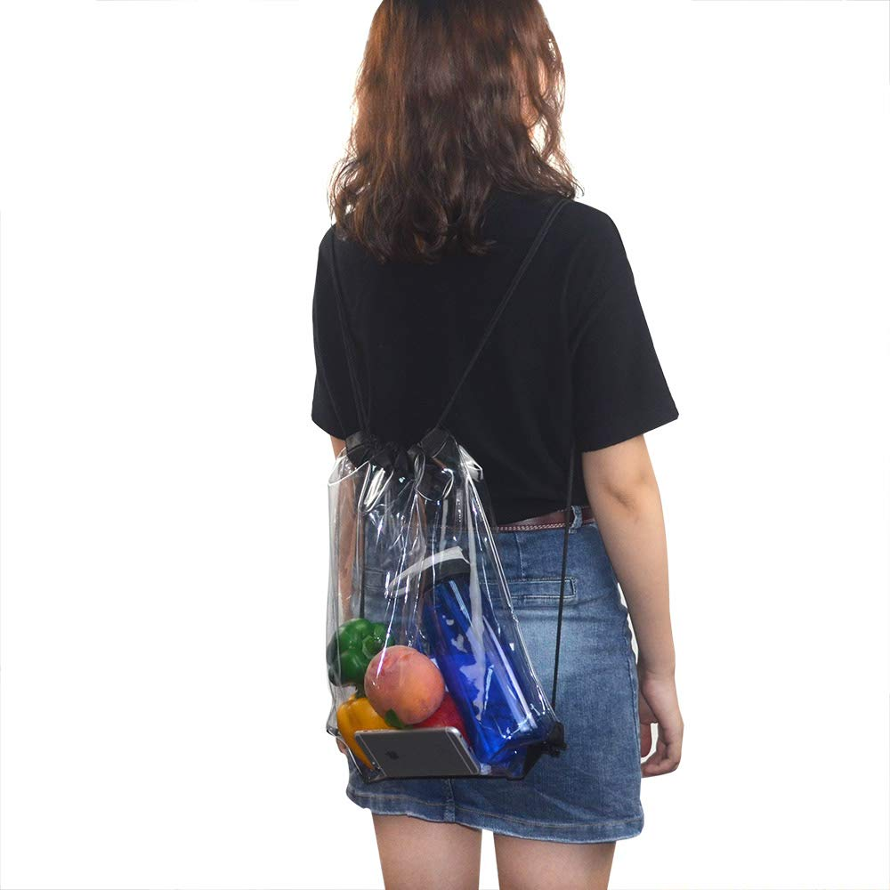 Clear-Stadium-Bag-Drawstring-Backpacks 2 Pack Waterproof Clear Bag Pack Drawstring Bags Backpacks for Football Games Sports