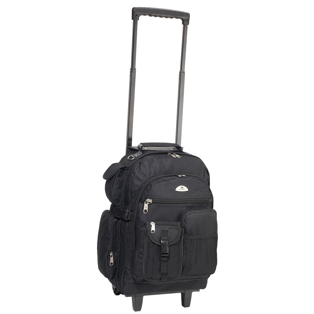 Everest Deluxe Wheeled Backpack, Black, One Size - backpacks4less.com