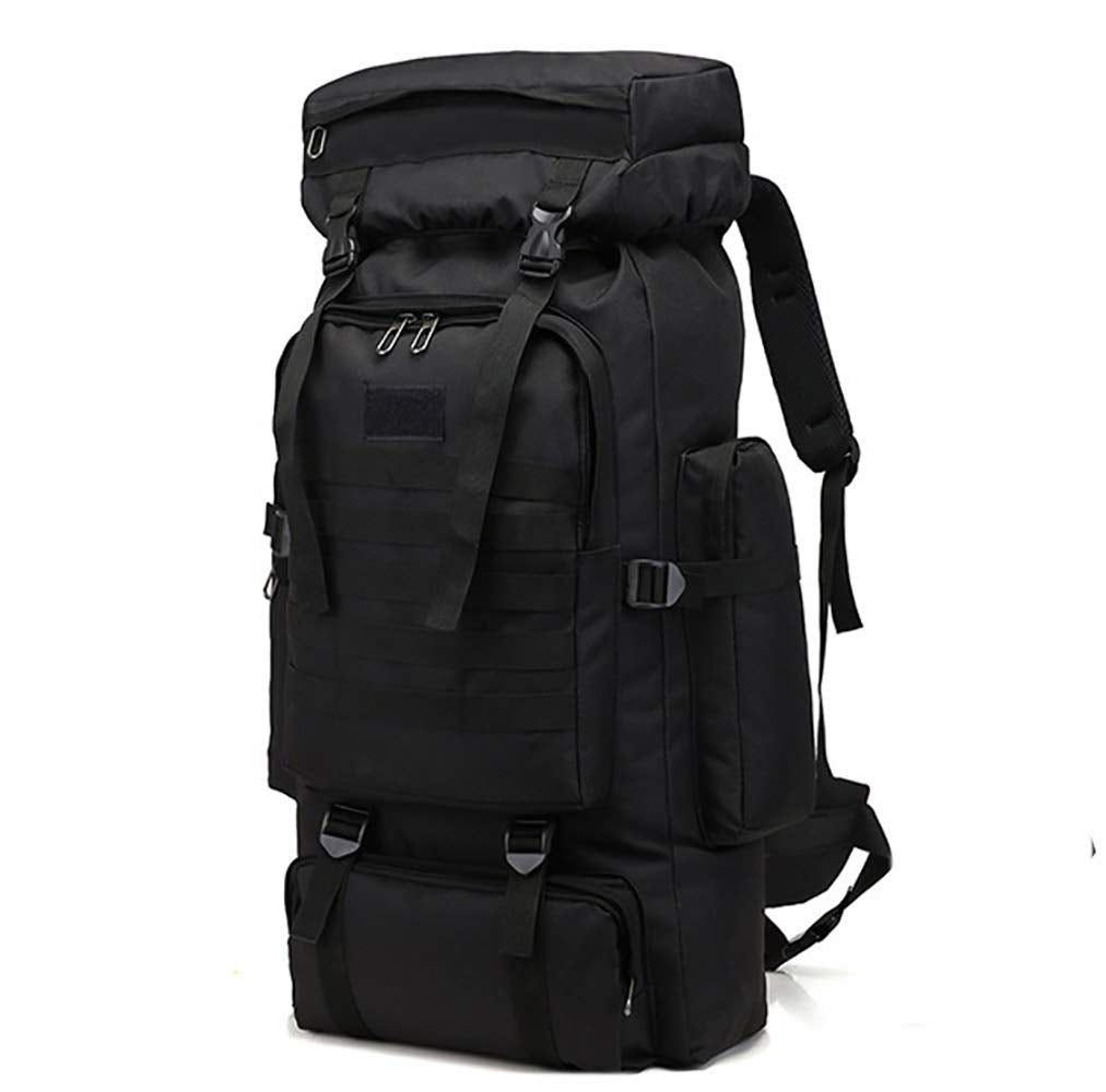 WintMing 70L Large Camping Hiking Backpack Tactical Military Molle Rucksack for Trekking Traveling Oxford Waterproof Mountaineering Pack Large Daypack for Men (Black) - backpacks4less.com