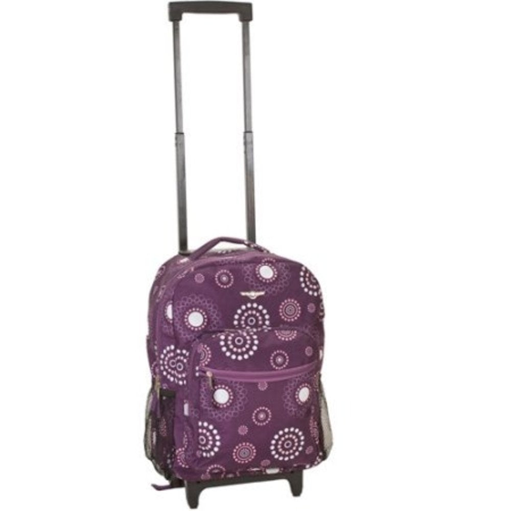 Rockland Luggage 17 Inch Rolling Backpack, PURPLEPEARL - backpacks4less.com