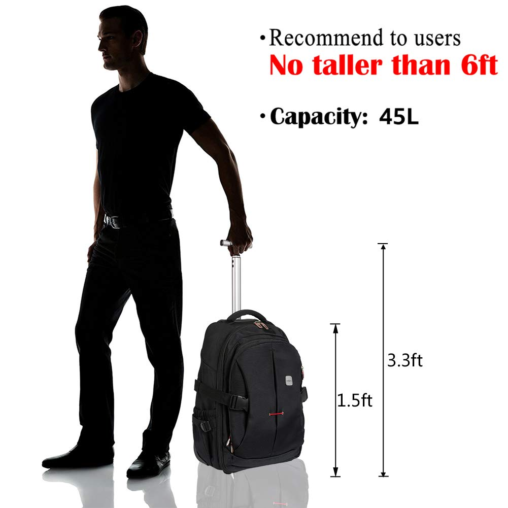 SKYMOVE 19 inches Wheeled Rolling Backpack for Adults and School Students Laptop Books Travel Backpack Bag, Black - backpacks4less.com