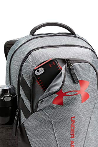 Under Armour Hustle 3.0 Backpack, White (101)/Red, One Size Fits All - backpacks4less.com