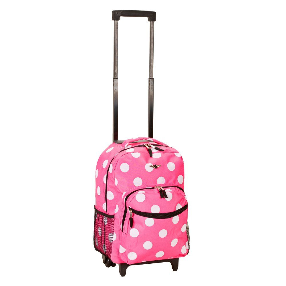 Rockland Luggage 17 Inch Rolling Backpack, PINKDOT - backpacks4less.com