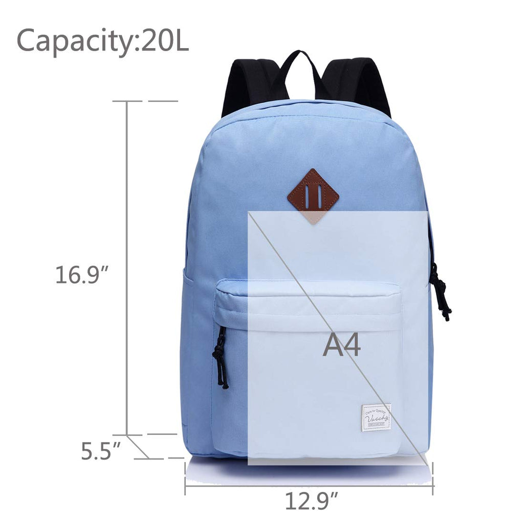 Lightweight Backpack for School, VASCHY Classic Basic Water Resistant Casual Daypack for Travel with Bottle Side Pockets (Lavander) - backpacks4less.com