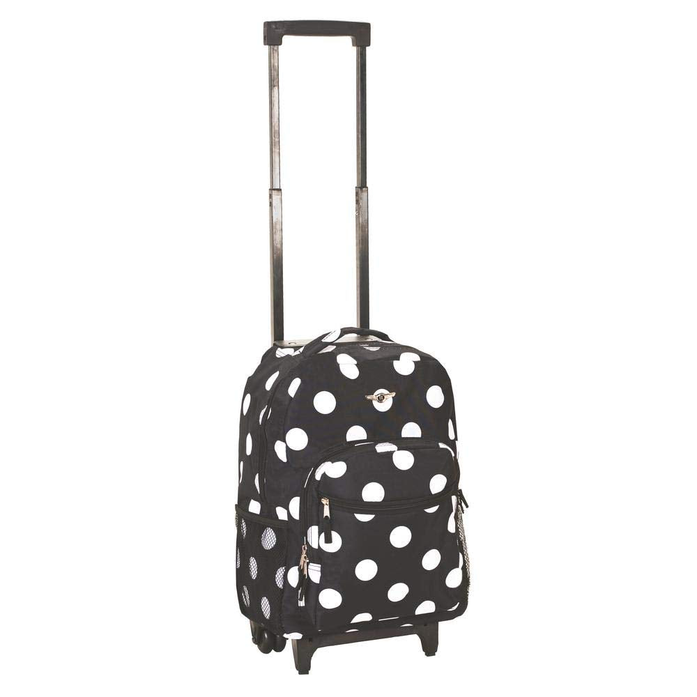 Rockland Luggage 17 Inch Rolling Backpack, Black/White Polka Dot - backpacks4less.com