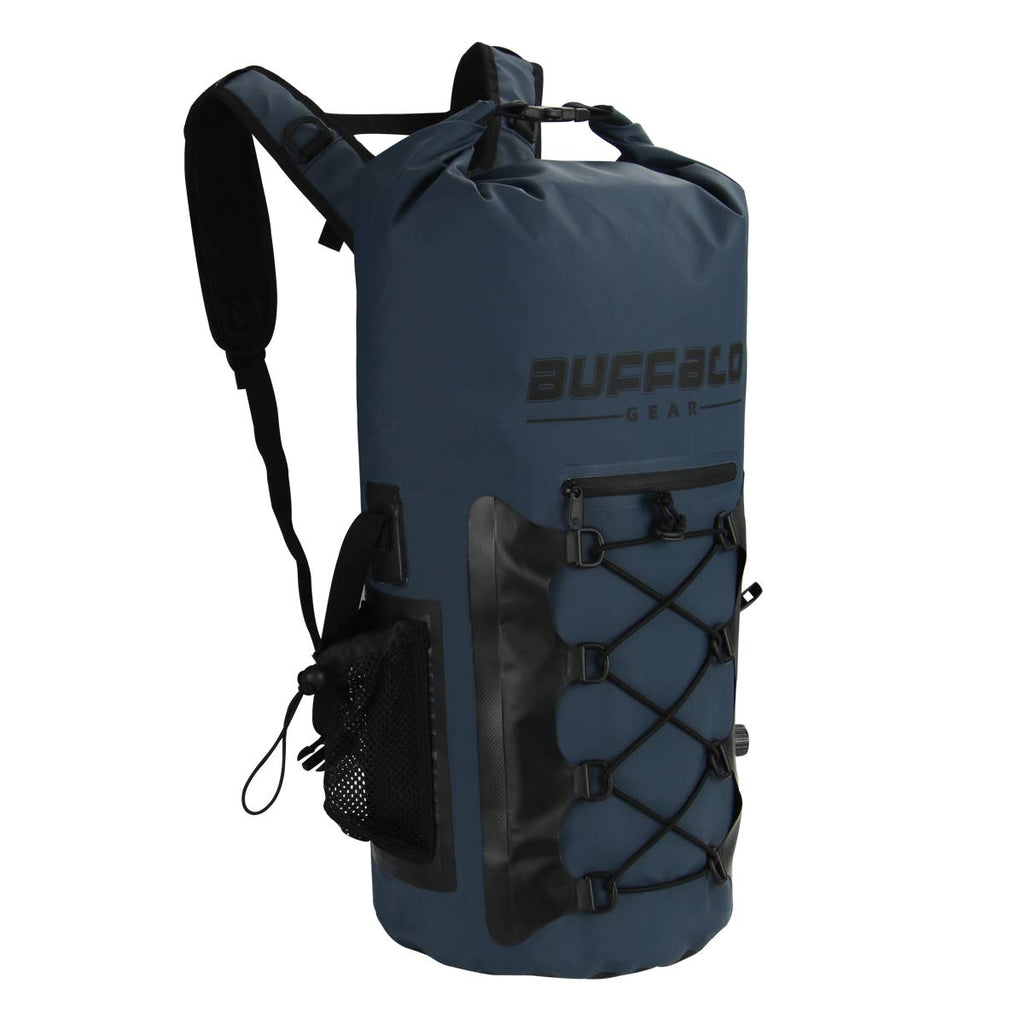 Buffalo Gear Portable Insulated Backpack Cooler Bag - Hands-free and Collapsible, Waterproof and Soft-Sided Cooler Backpack for Hiking, the Beach, Picnics,Camping, Fishing - Navy Blue,35 Liters,30 Can - backpacks4less.com