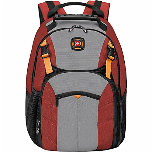 "Swiss Gear Sherpa 16"" Laptop Backpack Travel School Bag - Red - backpacks4less.com"