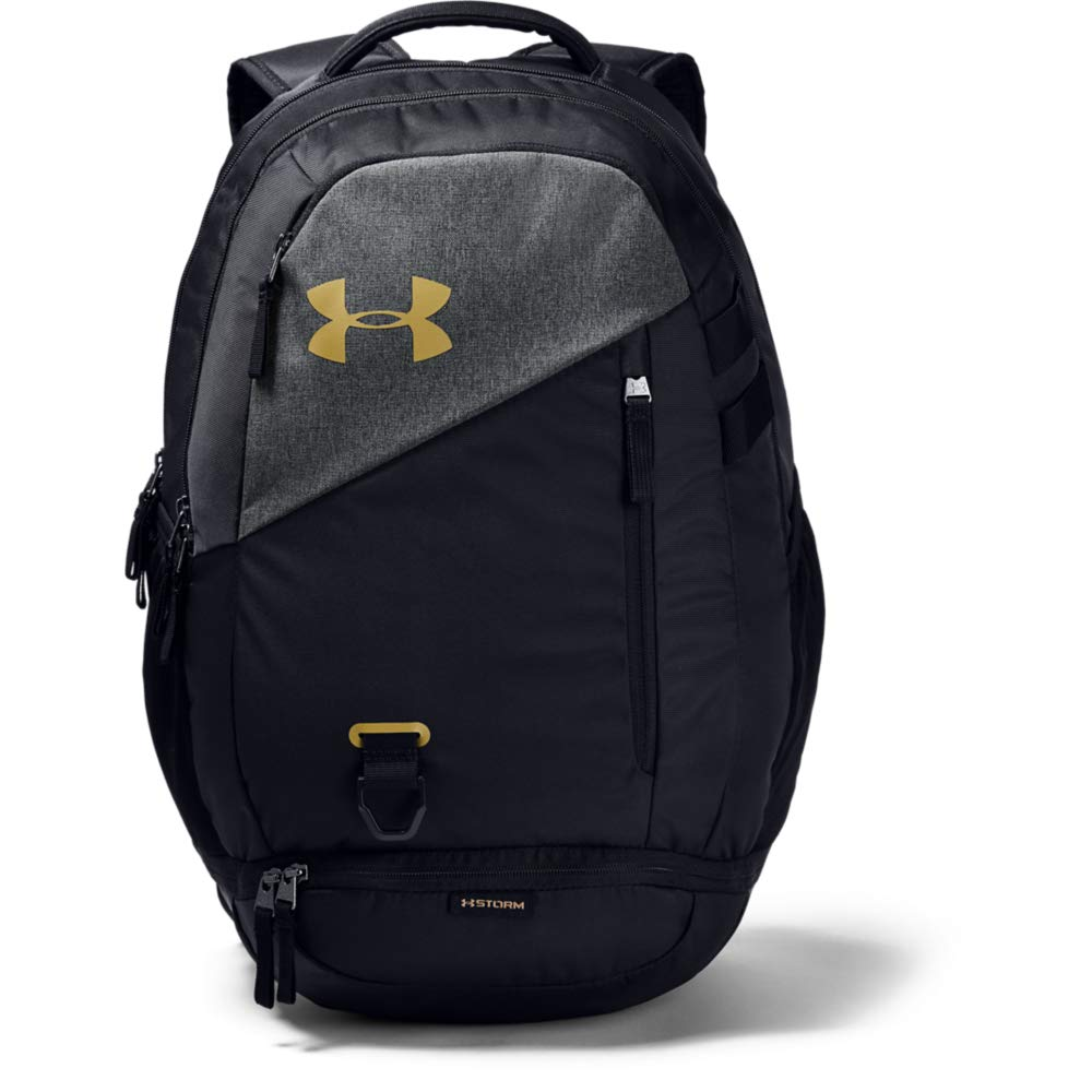 Under Armour Unisex Hustle 4.0 Backpack, Black (003)/Metallic Gold, One Size Fits All - backpacks4less.com
