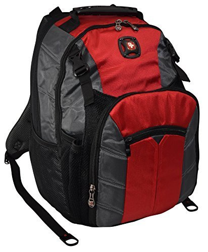 "SwissGear Sherpa 16"" Padded Laptop Backpack/School Travel Bag-Red - backpacks4less.com"