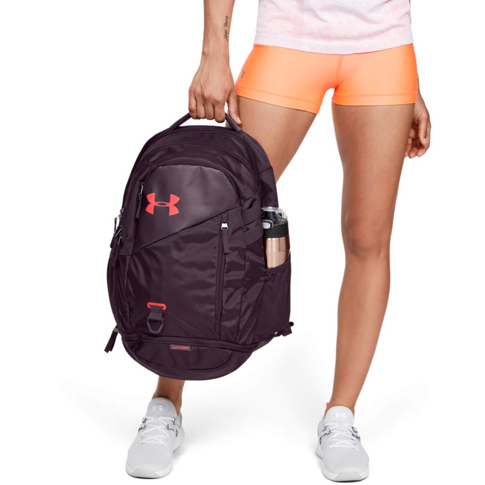 Under Armour Hustle 4.0 Backpack, Kinetic Purple (520)/Beta Red, One Size Fits All - backpacks4less.com