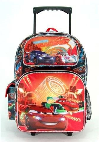 "Disney Cars - 16"" Rolling Backackpack - Neon - backpacks4less.com"