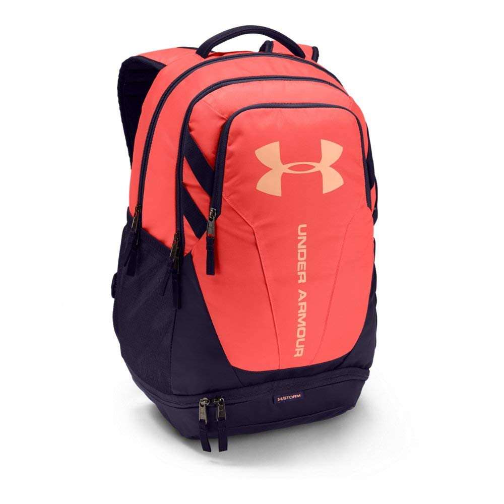Under Armour Hustle 3.0 Backpack, After Burn (877)/Peach Horizon, One Size Fits All - backpacks4less.com