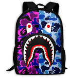 Shark Pattern Blood Backpack For Travel Laptop Daypack 3D Print Bag For Men