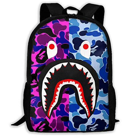 Shark Pattern Blood Backpack For Travel Laptop Daypack 3D Print Bag For Men - backpacks4less.com