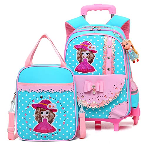 Meetbelify Girls Kids Rolling Backpack Backpacks with Wheels for Girls for School - backpacks4less.com