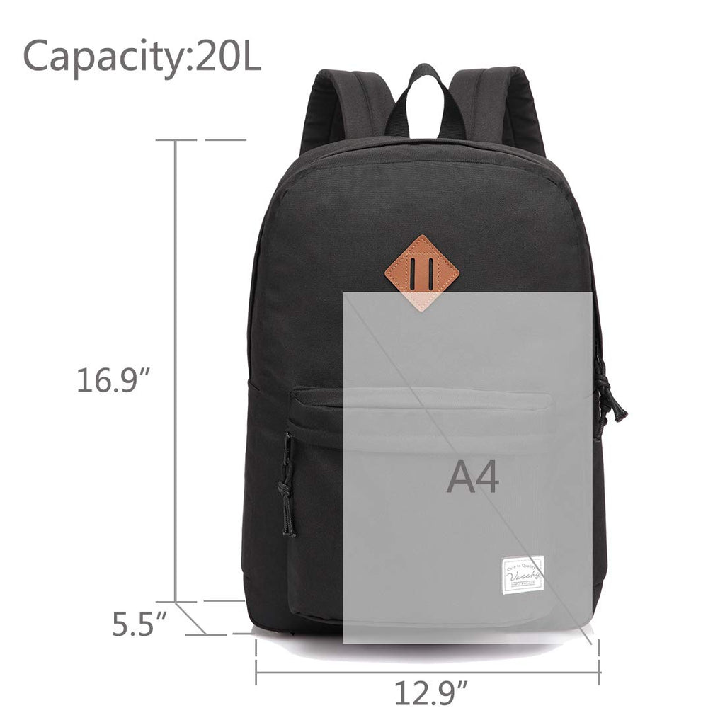 Lightweight Backpack for School, VASCHY Classic Basic Water Resistant Casual Daypack for Travel with Bottle Side Pockets (Black) - backpacks4less.com
