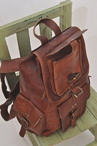"HLC 20"" Genuine Leather Retro Rucksack Backpack Brown Leather Bag Travel Backpack for Men Women - backpacks4less.com"