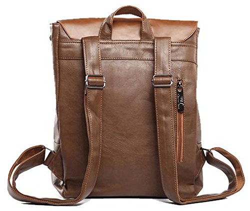 Kenox Vintage PU Leather Laptop Backpack Knapsack Rucksack Weekender Daypack Bag - backpacks4less.com