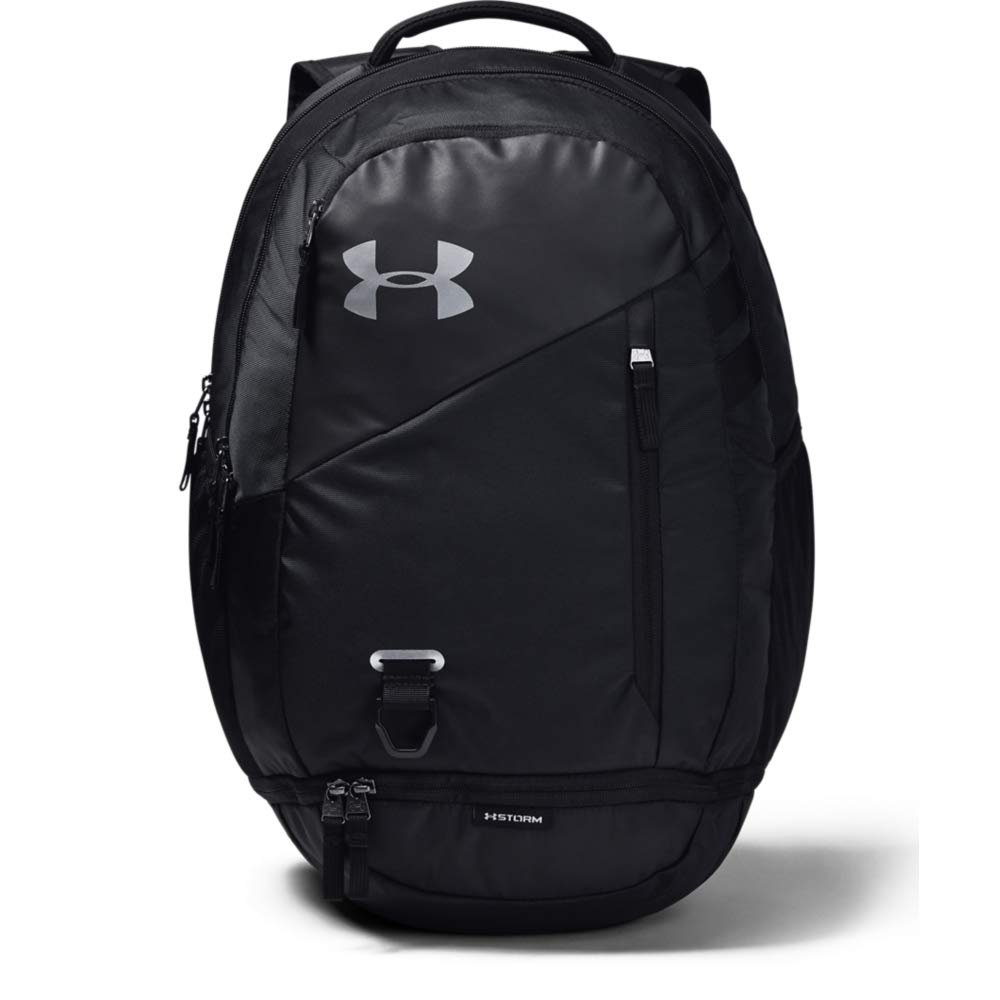 Under Armour Unisex Hustle 4.0 Backpack, Black (001)/Silver, One Size Fits All - backpacks4less.com