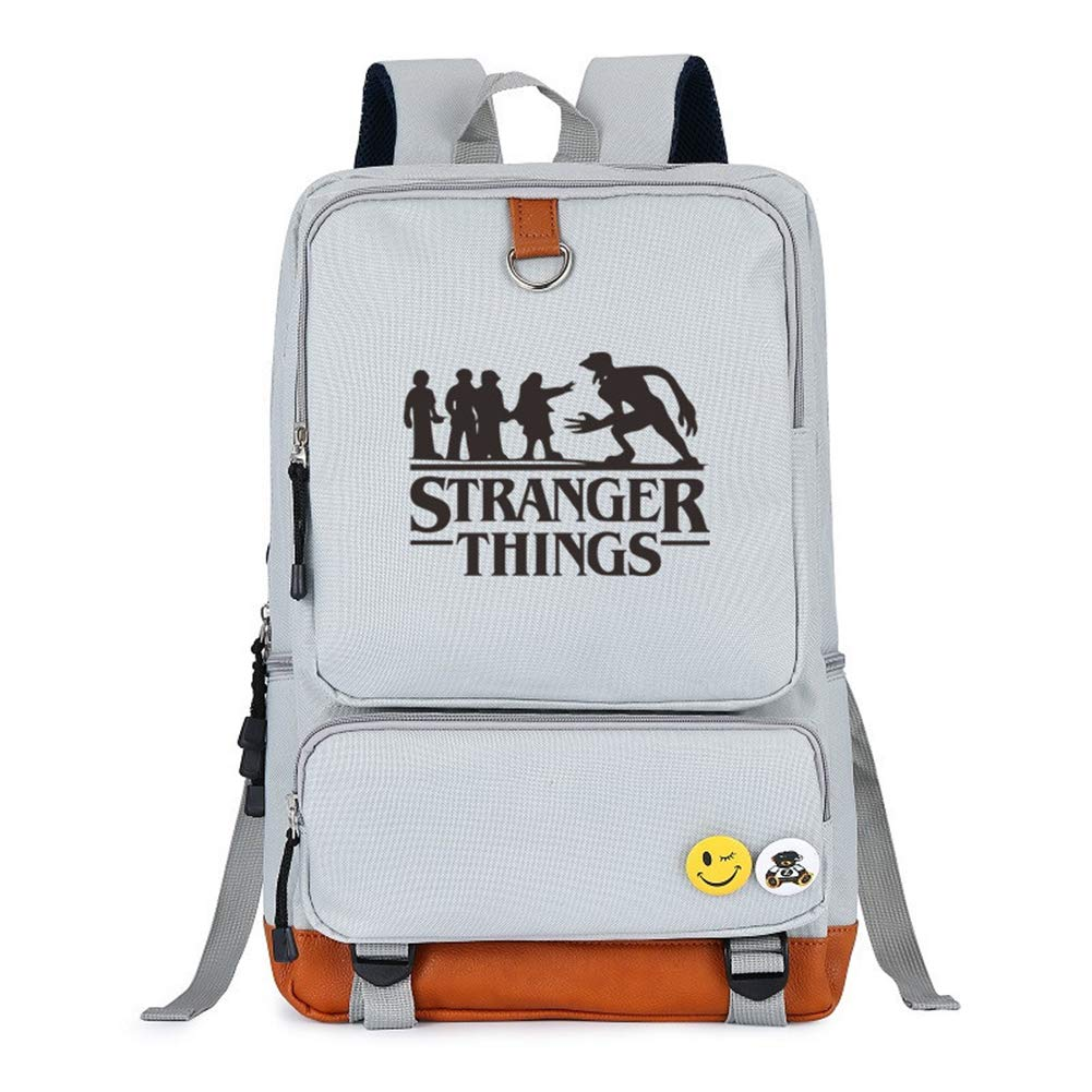 Stranger Things School Student Backpack Shoulder Book Bag (White) - backpacks4less.com